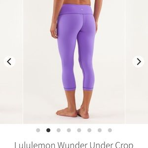 Lululemon purple wonder under embossed capris